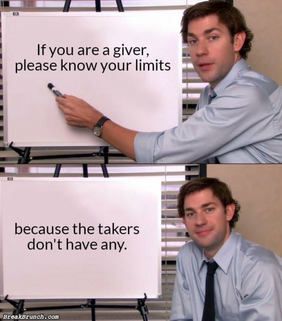 Know your limit if you are a giver