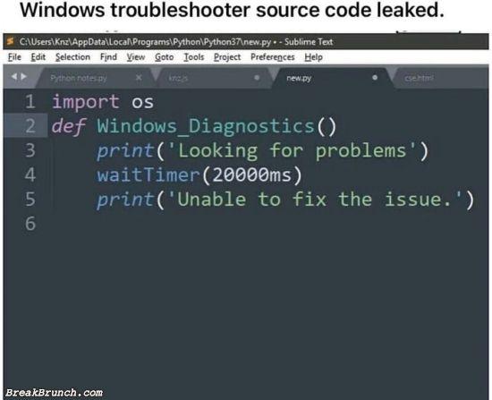 Windows troubleshooting source code