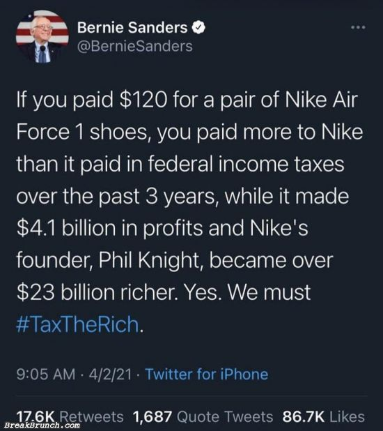 If you paid $120, you paid more than Nike did for 3 years of federal income taxes